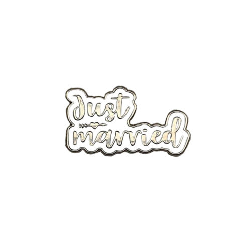Just Married White Silver Wedding Charm