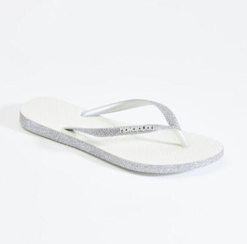 havaianas slim white sparkle silver glitter