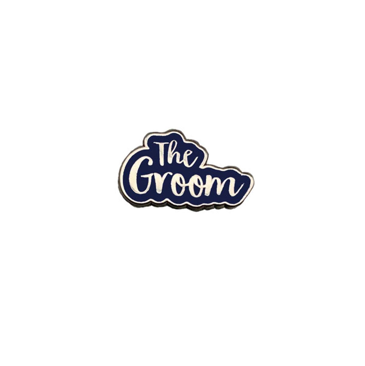 The Groom Silver & Navy Wedding Charm