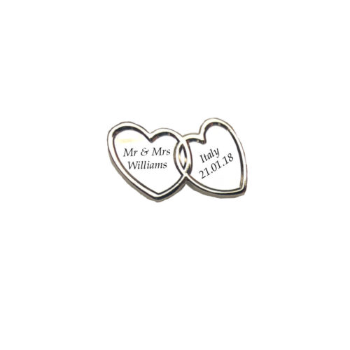 Double Silver Heart Charm Wedding
