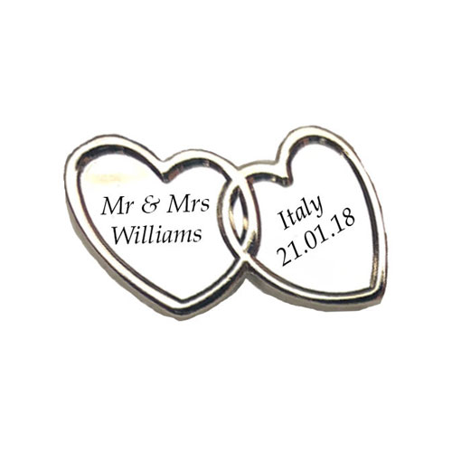 Linked Heart Silver Engraved Charm