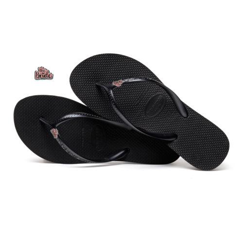 Havaianas Heel Black Flip-Flops with Pink Glitter 'Just Married' Charm