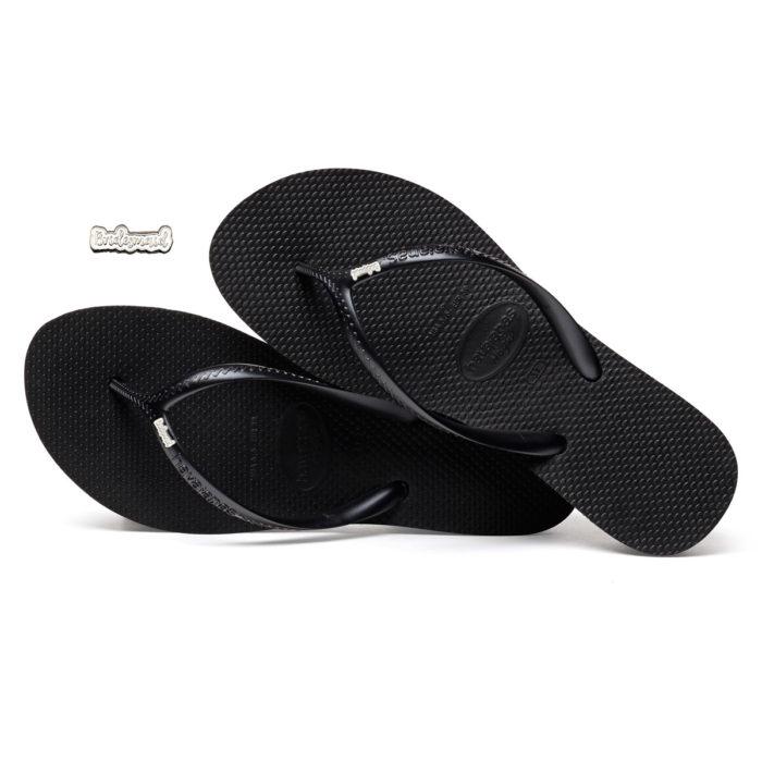 Havaianas Heel Black Flip-Flops with Silver 'Bridesmaid' Charm