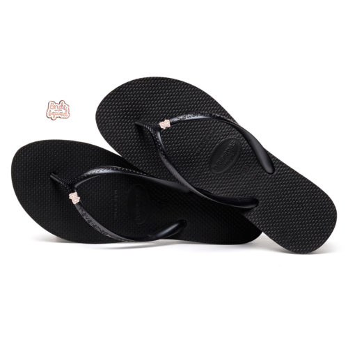 Havaianas Heel Black Flip-Flops with Rose Gold Bride Squad Charm