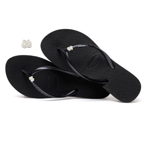 Havaianas Heel Black Flip-Flops with Silver & White Bride Squad Charm