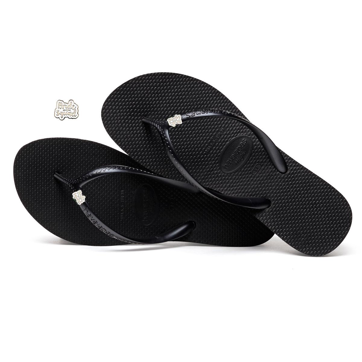 Havaianas Heel Black Flip-Flops with Silver & White Bride Squad Charm