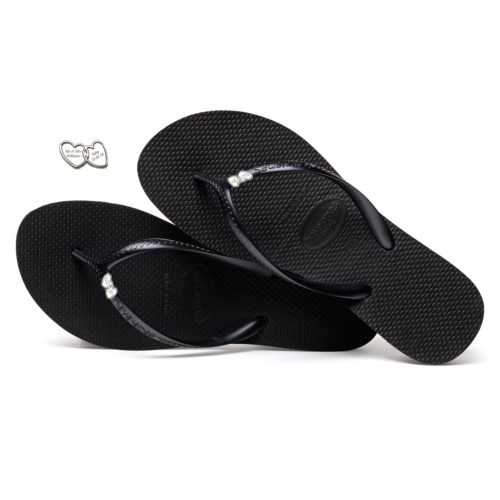 Havaianas Heel Black Flip-Flops with Heart Silver Charm Personalised