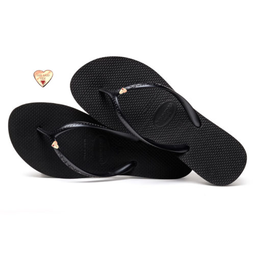 Havaianas Heel Black Flip-Flops with Gold Heart Wedding Personalised