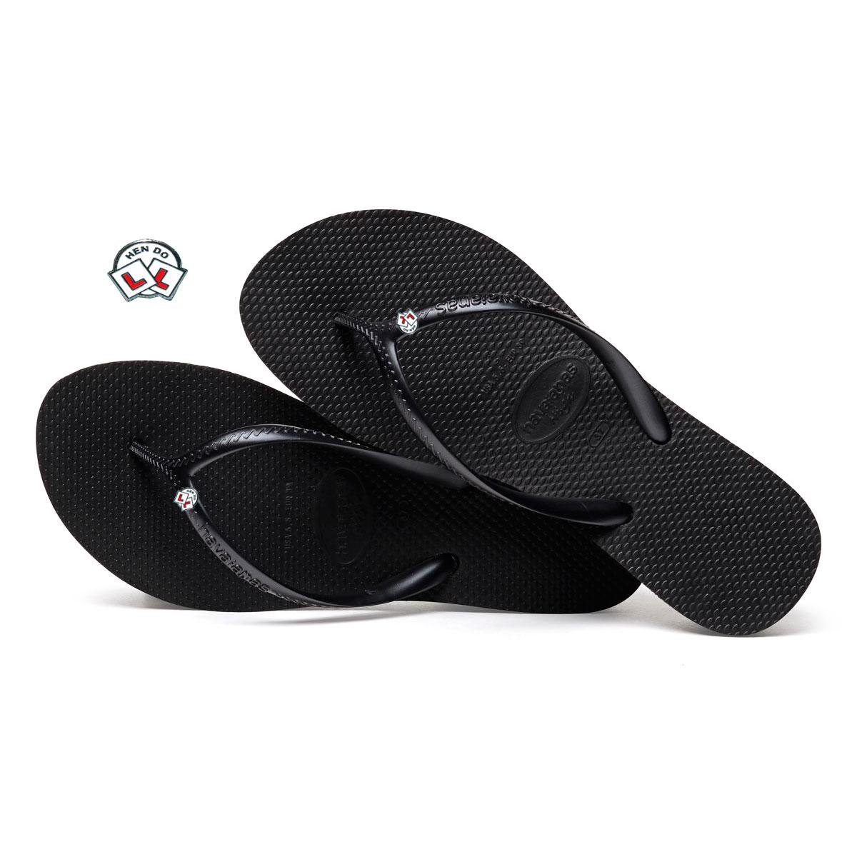 Havaianas Heel Black Flip-Flops with Hen Do Wedding Personalised