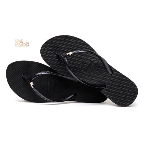 Havaianas Heel Black Flip-Flops with Rose Gold 'Just Married' Charm