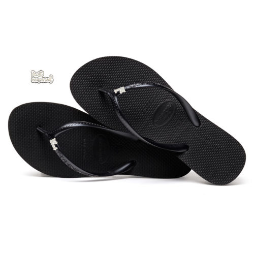 Havaianas Heel Black Flip-Flops with Silver & White 'Just Married' Charm