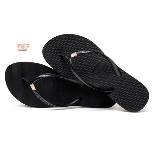 Havaianas Heel Black Flip-Flops with Rose Gold Maid of Honour Charm
