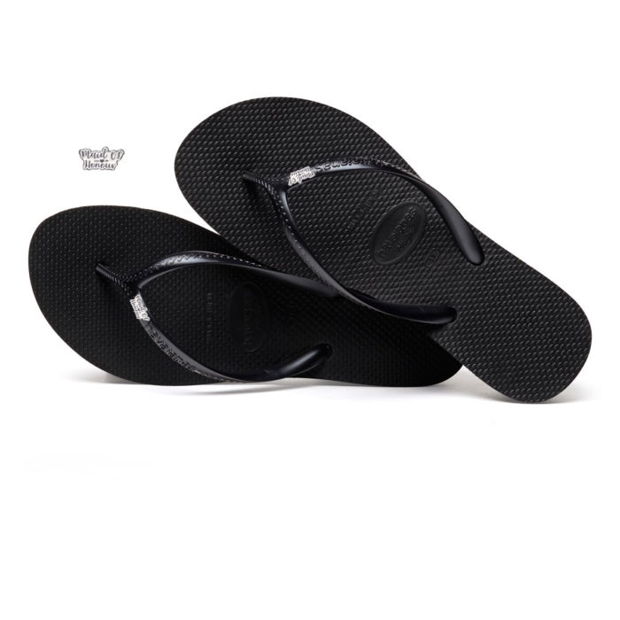 Havaianas Heel Black Flip-Flops with Silver White Maid of Honour Pin