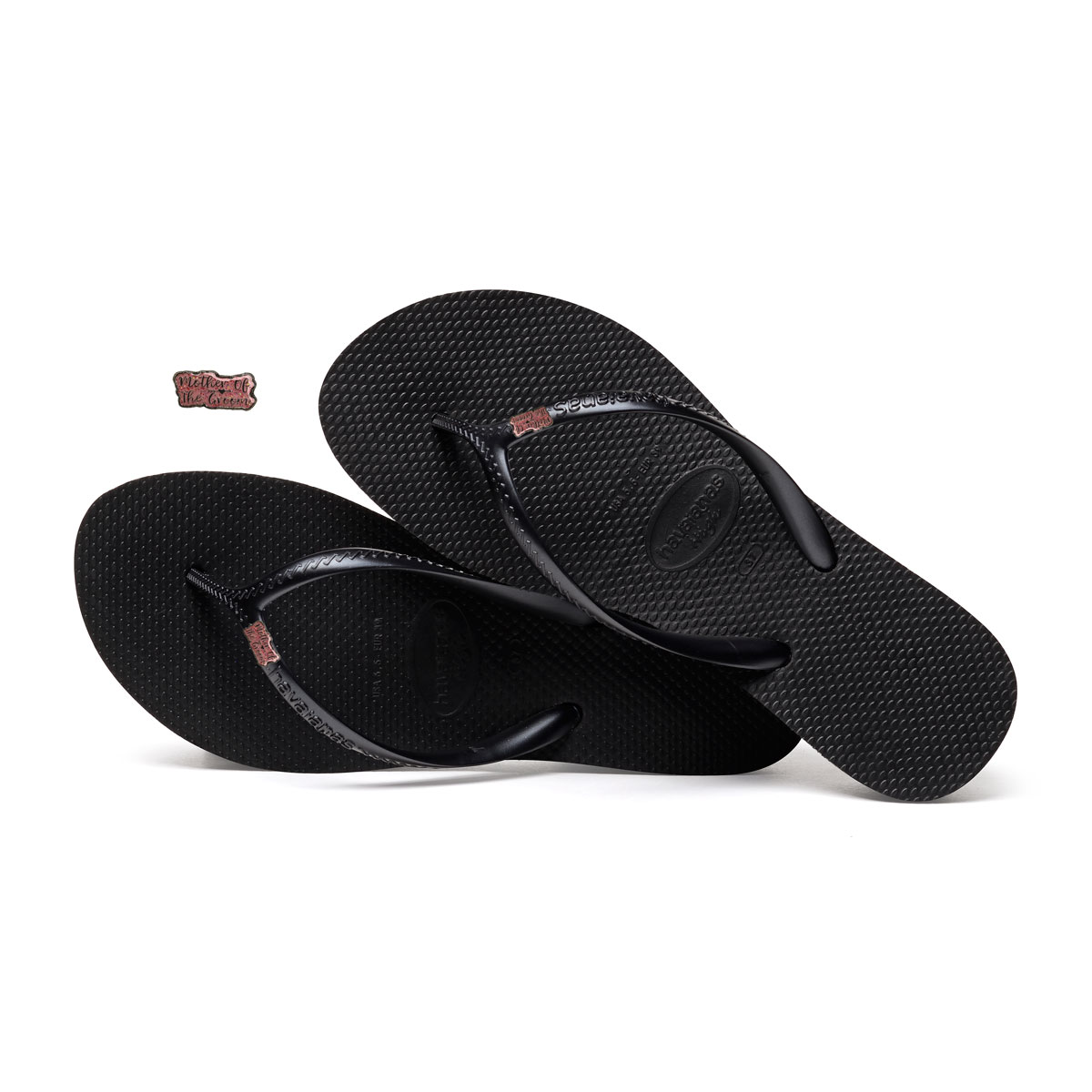 Havaianas Heel Black Flip-Flops with Pink Glitter Mother of the Groom Pin