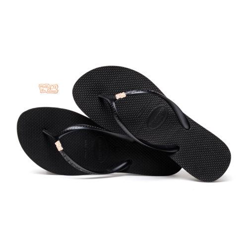 Havaianas Heel Black Flip-Flops with Rose Gold Mother of the Groom Pin
