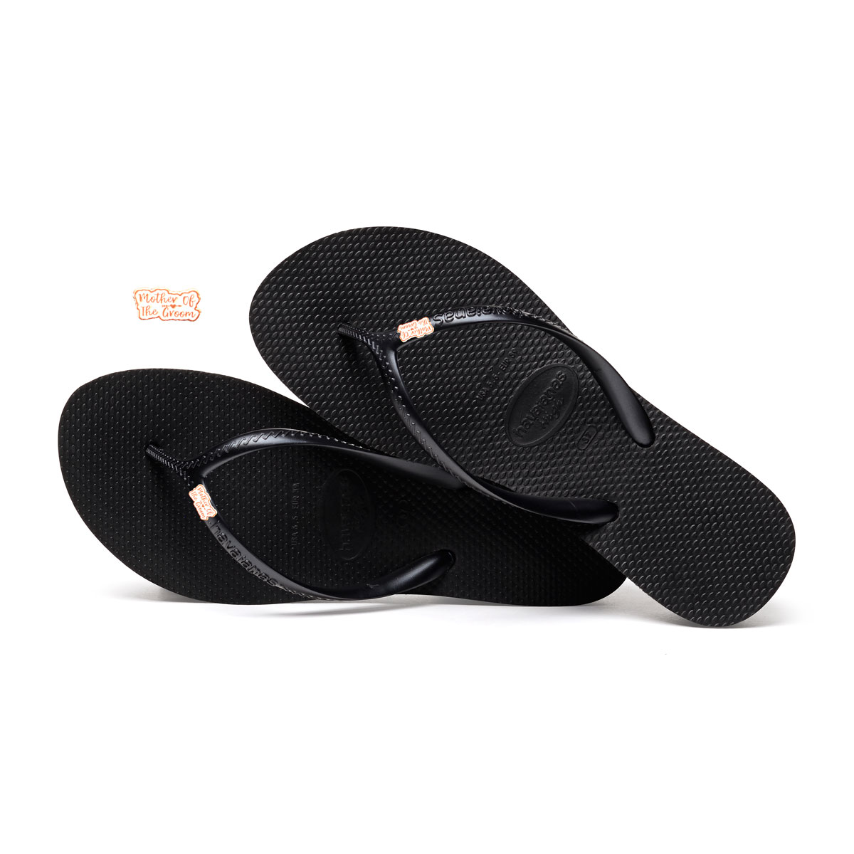 Havaianas Heel Black Flip-Flops with Rose Gold Mother of the Groom Pin