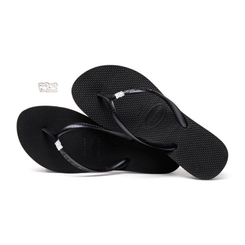 Havaianas Heel Black Flip-Flops with Silver Mother of the Groom Charm