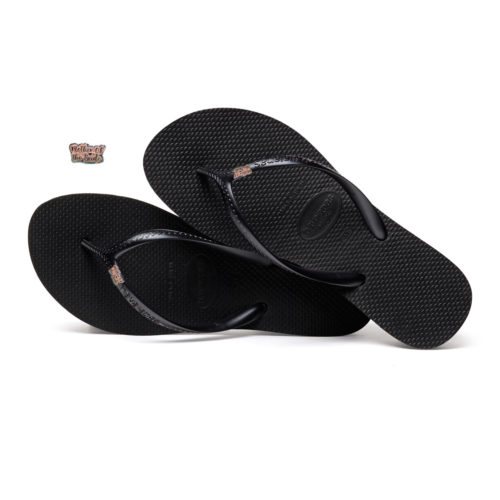 Havaianas Heel Black Flip-Flops with Pink Glitter Mother of the Bride Pin