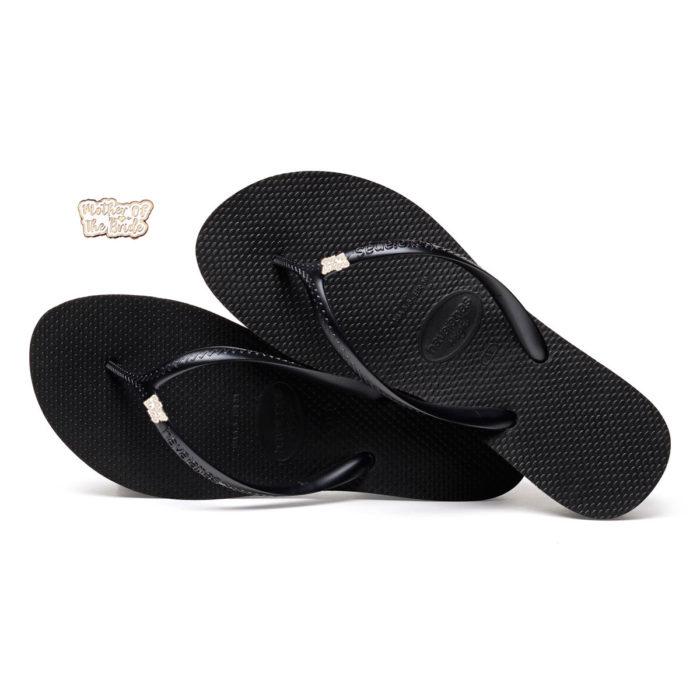 Havaianas Heel Black Flip-Flops with Rose Gold Mother of the Bride