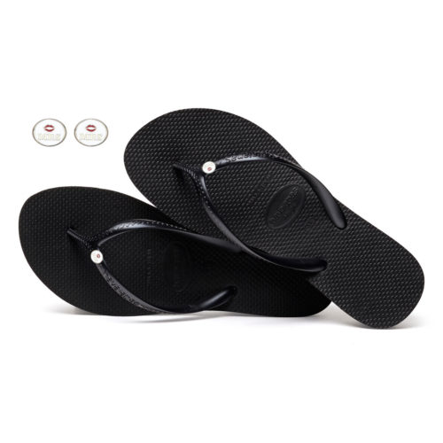 Havaianas Heel Black Flip-Flops with Silver Mrs & Mrs Wedding Charm