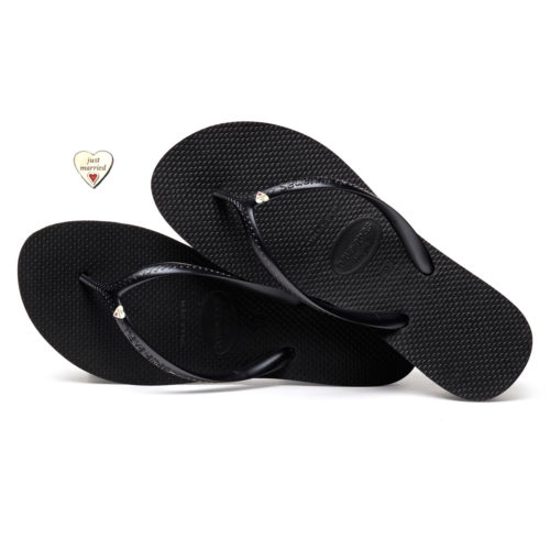 Havaianas Heel Black Flip-Flops with Heart Silver Wedding Personalised