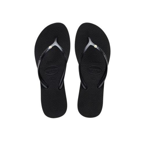 Havaianas Heel Black Flip-Flops with Round Silver Charm Personalised