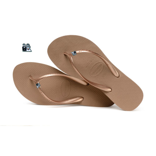 Havaianas Heel Rose Gold Flip-Flops with Bride & Groom Pin Wedding