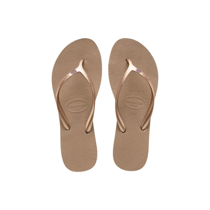 Havaianas Heel Rose Gold Flip-Flops with Pink Glitter Bride Squad Pin