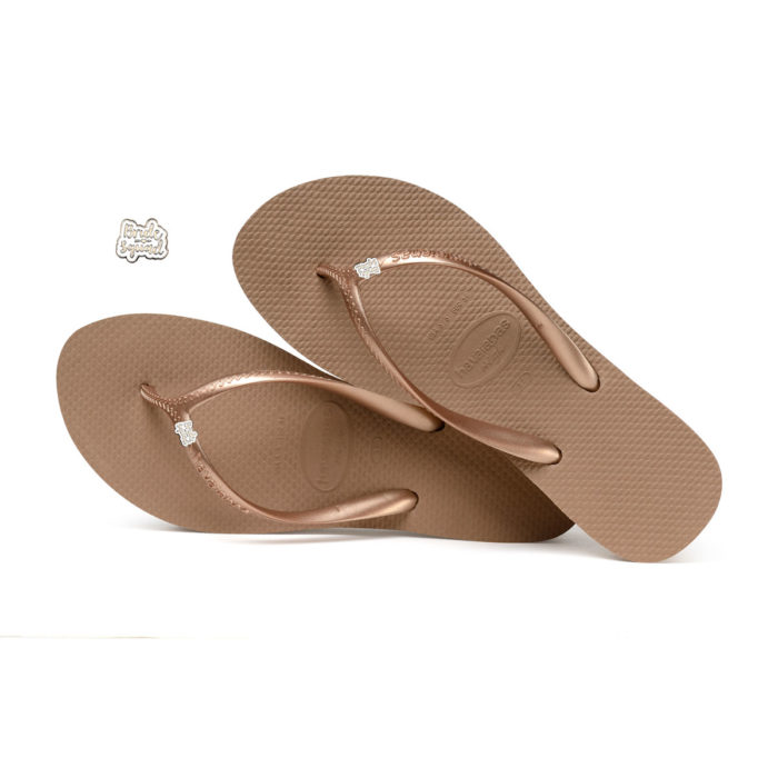 Havaianas Heel Rose Gold Flip-Flops with Silver & White Bride Squad Pin