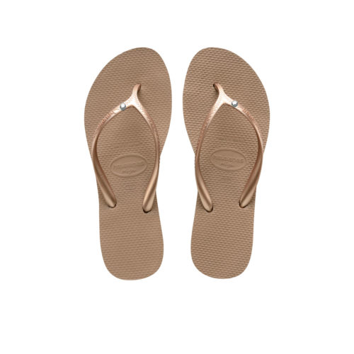 Havaianas Heel Rose Gold Flip-Flops with Crystal Charm Wedding Gift