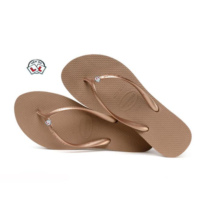 Havaianas Heel Rose Gold Flip-Flops with Hen Do Wedding Personalised