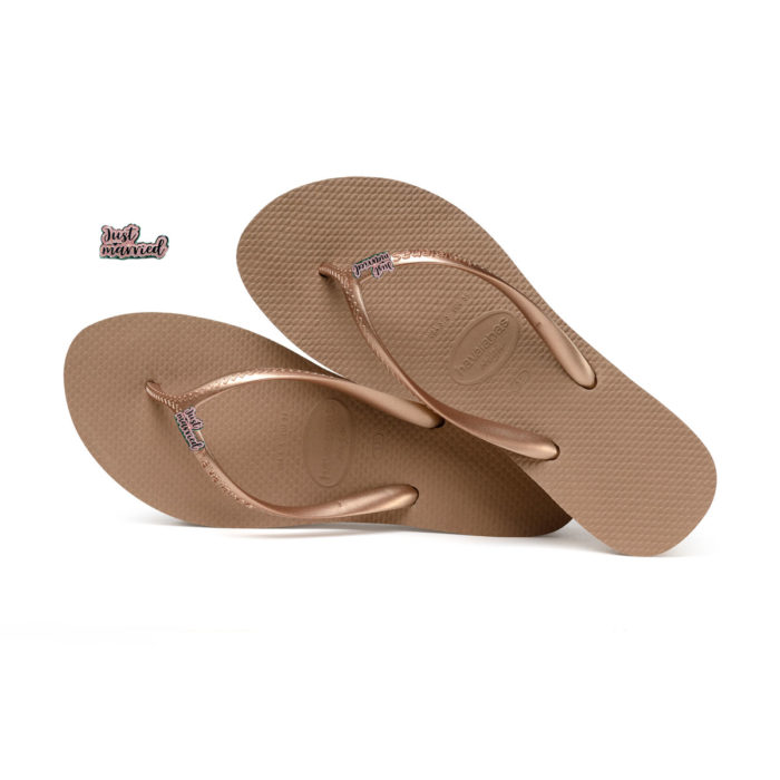 Havaianas Heel Rose Gold Flip-Flops with Pink Glitter 'Just Married'