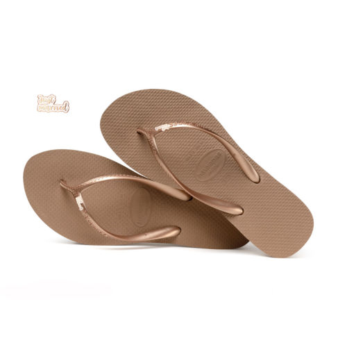 Havaianas Heel Rose Gold Flip-Flops with Rose Gold 'Just Married'
