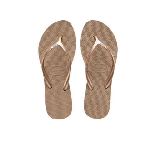 Havaianas Heel Rose Gold Flip-Flops with Silver White Maid of Honour