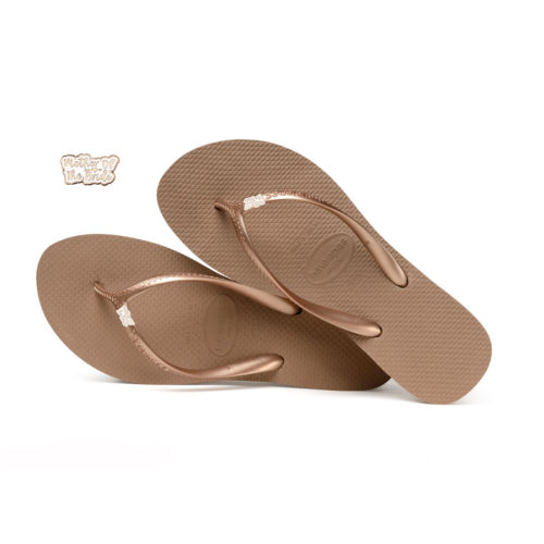 Havaianas Heel Rose Gold Flip-Flops with Rose Gold Mother of the Bride