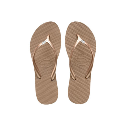 Havaianas Heel Rose Gold Flip-Flops with Silver White Mother of the Bride