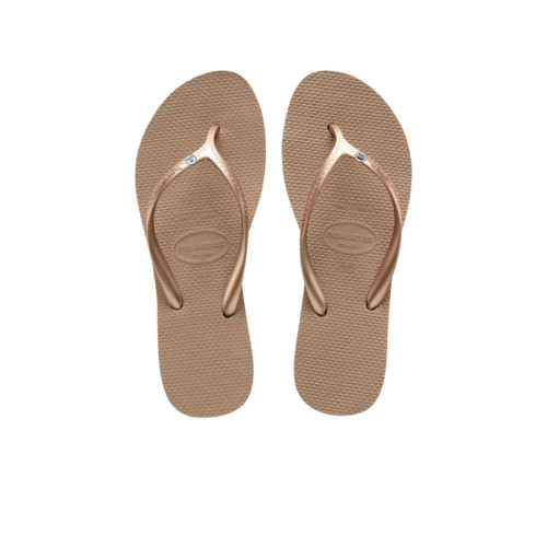 Havaianas Heel Rose Gold Flip-Flops with Silver Mr & Mrs Pin Wedding