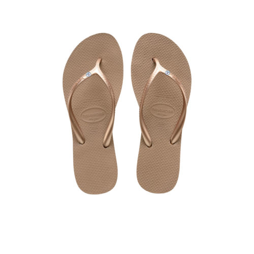 Havaianas Heel Rose Gold Flip-Flops with Silver Mrs & Mrs Pin Wedding