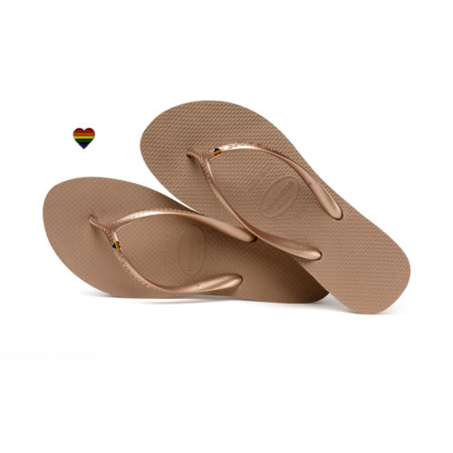 Havaianas Heel Rose Gold Flip-Flops with Pride Wedding Personalised