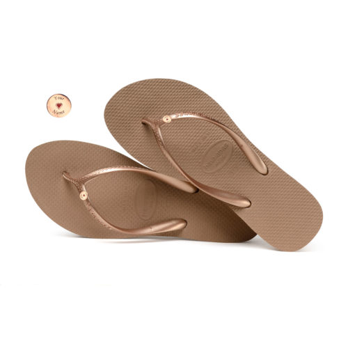 Havaianas Heel Rose Gold Flip-Flops with Rose Gold Charm Personalised