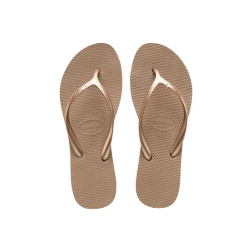 Havaianas Heel Rose Gold Flip-Flops with Silver Charm Personalised