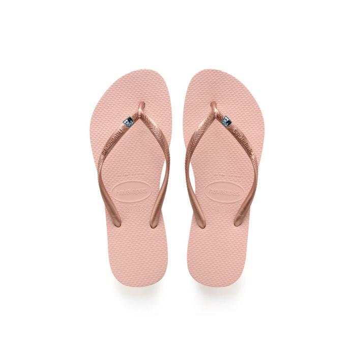 Havaianas Ballet Rose Flip Flops with Silver Bride & Groom Wedding Gift