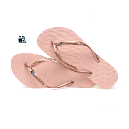 Havaianas Ballet Rose Flip Flops with Silver Bride & Groom Wedding Gift