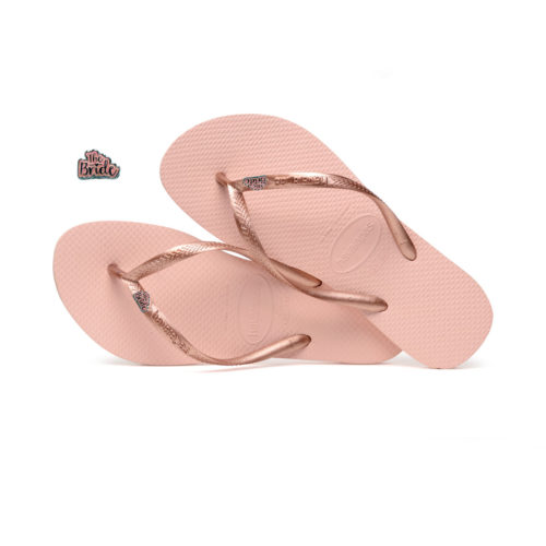 Havaianas Slim Ballet Rose Flip-Flops with 'The Bride' Charm Wedding
