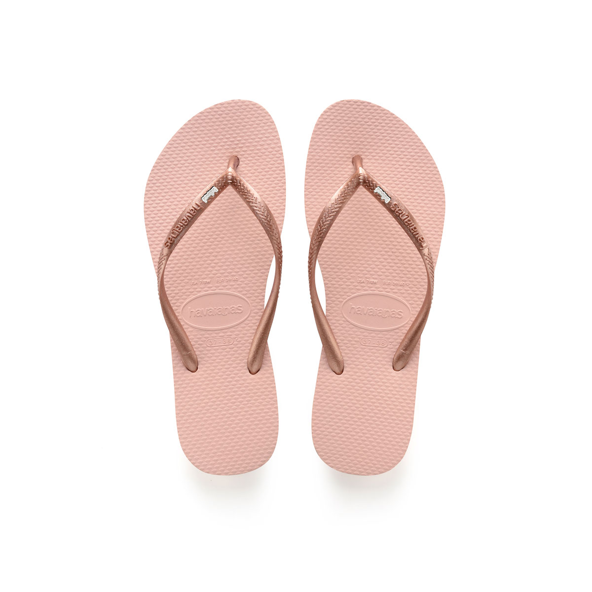Havaianas Ballet Rose Flip Flops with Silver & White Bridesmaid Charm