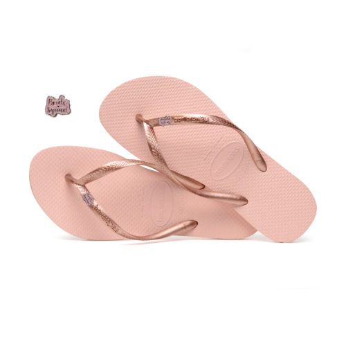Havaianas Ballet Rose Flip Flops with Pink Glitter Bride Squad Pin Gift
