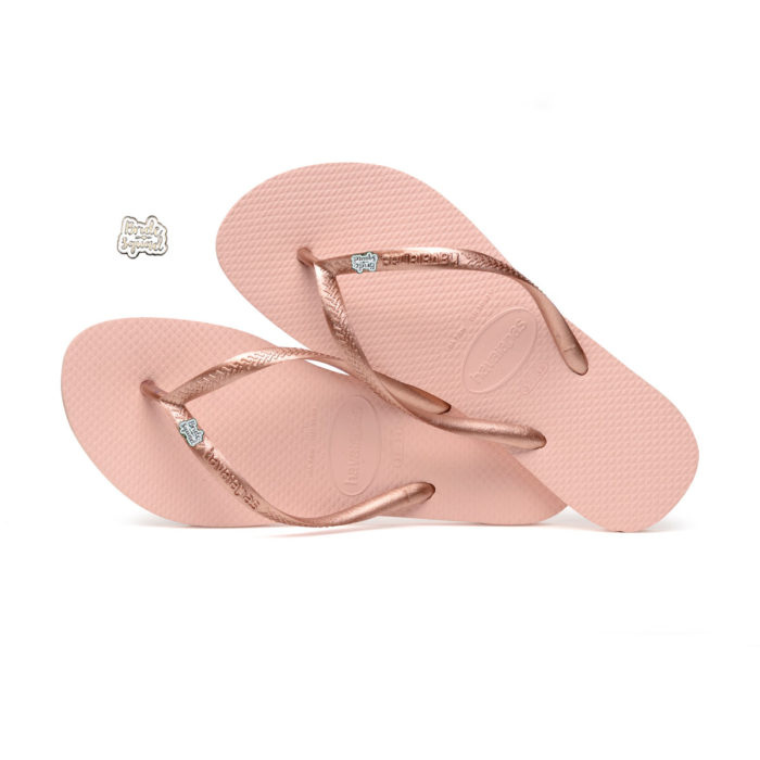 Havaianas Ballet Rose Flip Flops with Silver & White Bride Squad Pin Gift