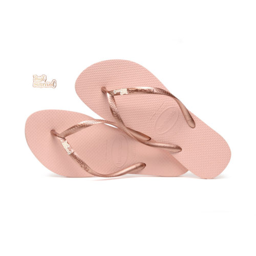 Havaianas Ballet Rose Flip Flops with Rose Gold Just Married Charm