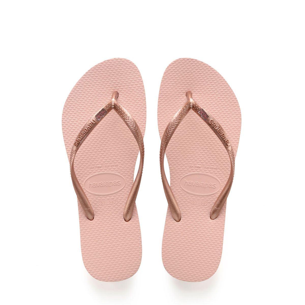 Havaianas Ballet Rose Flip Flops with Pink Glitter Mother of the Groom Pin