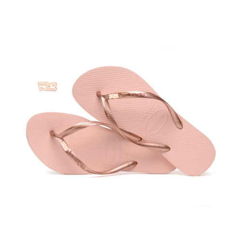 Havaianas Ballet Rose Flip Flops with Rose Gold Mother of the Groom Pin